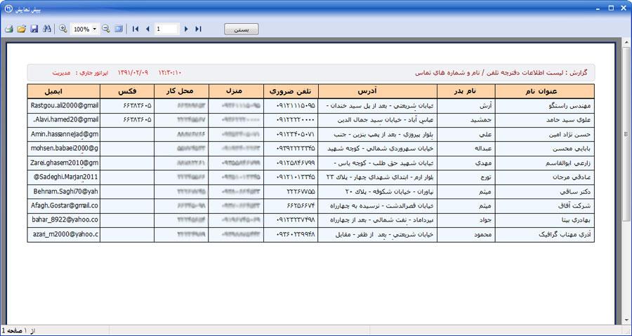گزارش نمونه از لیست اطلاعات دفترچه تلفن