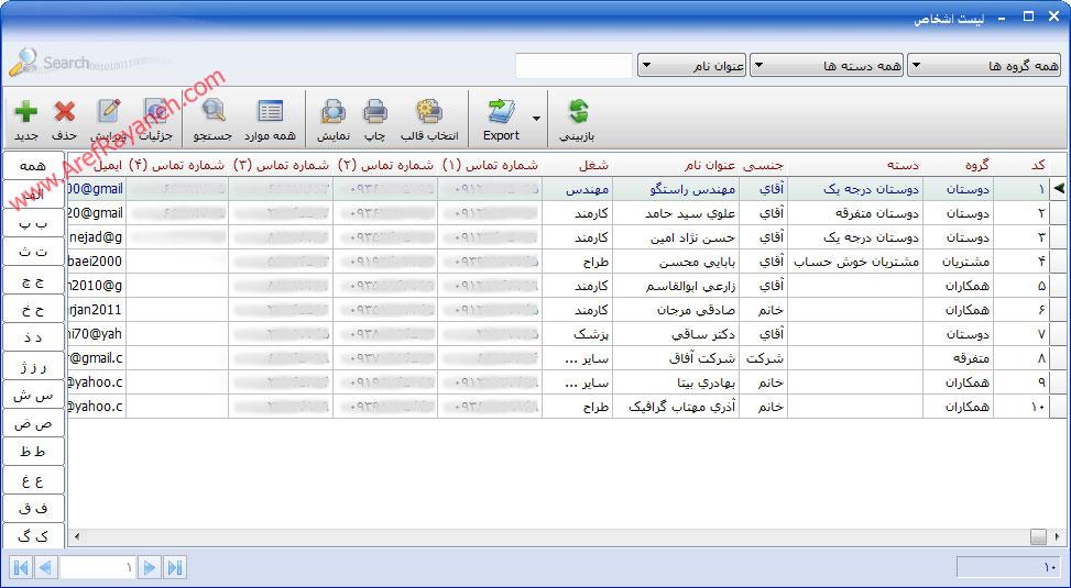 لیست اطلاعات اشخاص و شرکت ها