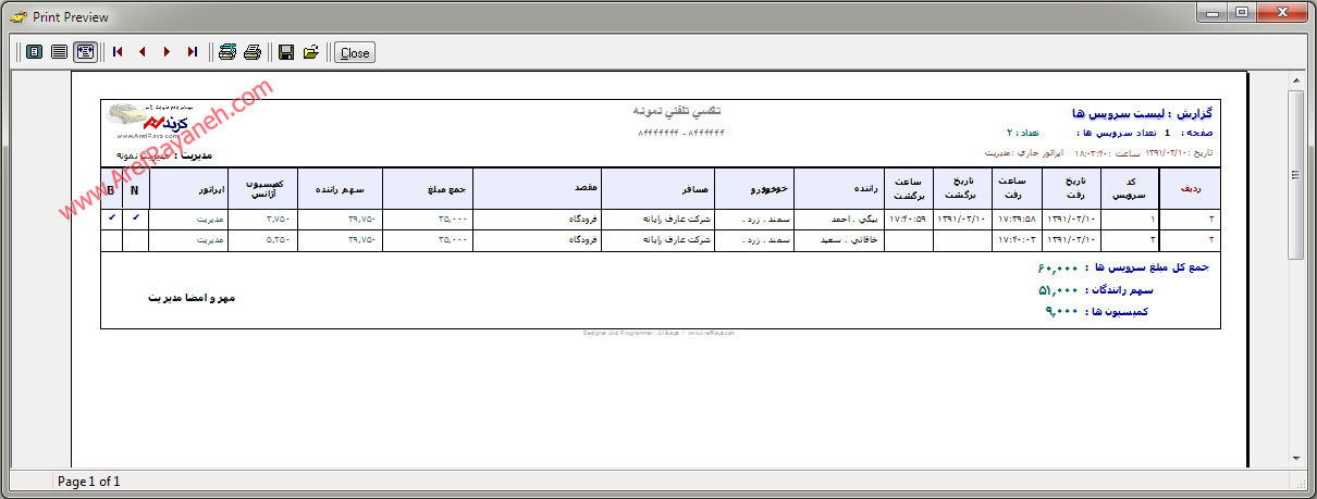 نمونه گزارش از لیست سرویس ها
