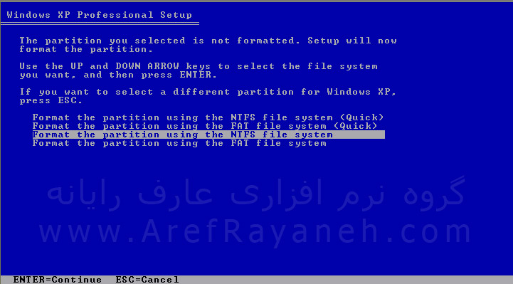 نصب یا setup windows xp