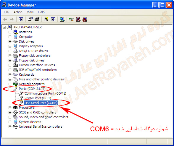 Device Manager و شناسایی پورت دستگاه کالر آیدی