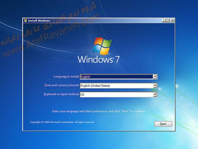 انتخاب زبان در مراحل نصب ویندوز 7