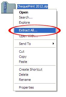 خارج کردن فایل نرم افزار چاپ چک از حالت فشرده