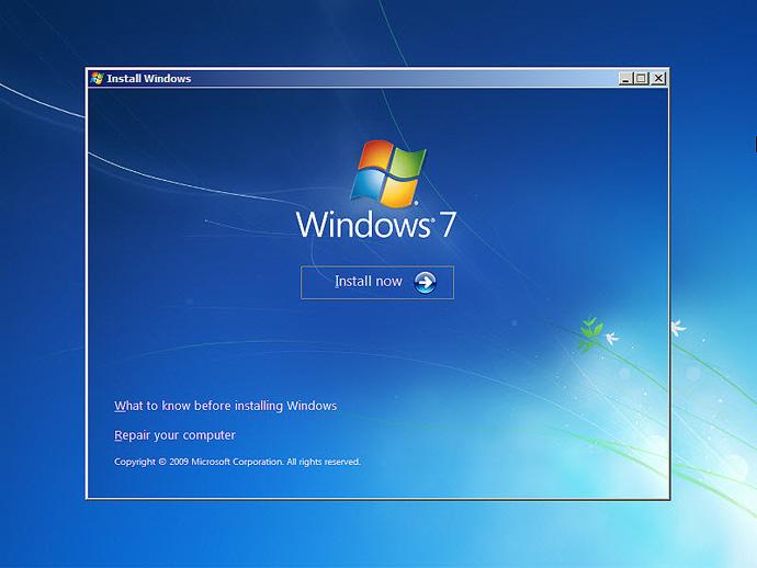 نصب ویندوز 7 مرحله اول کلیک بر روی کزینه Install